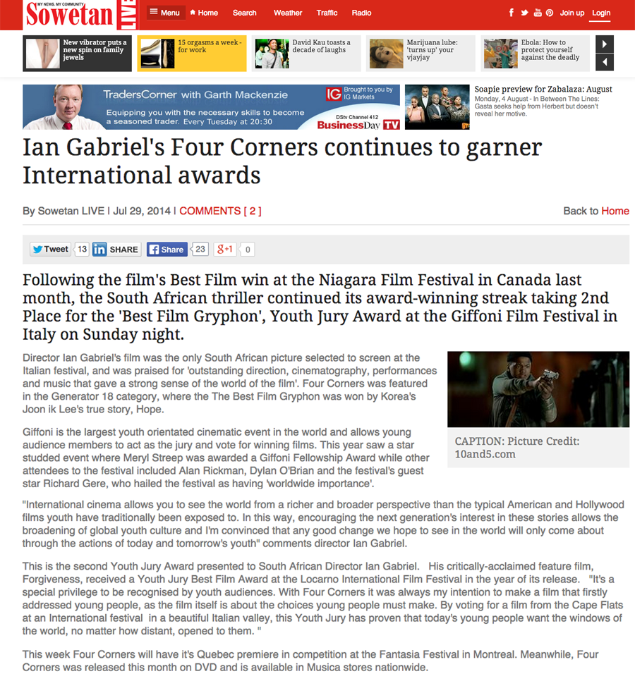 Ian Gabriel's Four Corners continues to garner International Awards